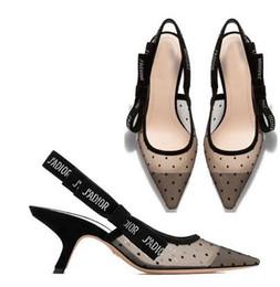 Luxe Strass Talon Marque Pointus orteils Designer Slingbacks Pompes Femmes Dentelle Sandales Talons Hauts Chaussures De Dames Élégante chaussure de banquet noir