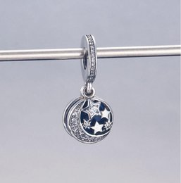 $enCountryForm.capitalKeyWord Australia - Whoesale Christmas star moon blue sky charm for pandora,925 sterling silver charm pendants fit for bracelet