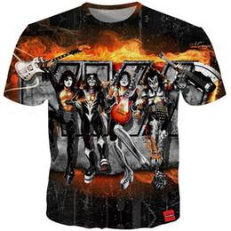 rock t shirts wholesale 2019 - Cloudstyle 2018 Men 3D Tshirt KISS Hard Rock Pop Metal 3D Two Side Print Tees Fashion Streetwear Tops T-shirts Plus Size