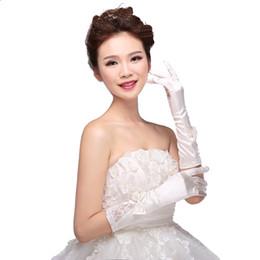 Nueva llegada moda dedo completo por debajo del codo longitud apliques guantes nupciales con arco guantes nupciales de la boda para la novia
