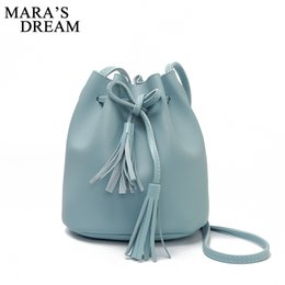 Color Leather Bags NZ - Mara's Dream Women Bag Shoulder Crossbody Bucket Bags for Women Candy Color 2018 Summer Tassel Bags PU Leather Purses