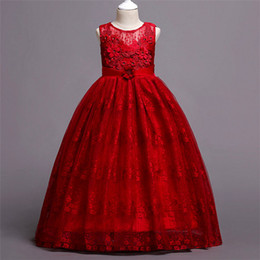 pure purple wedding dresses 2018 - 2018 kids clothes Girls lace dress skirt wedding dress in the big boy pure color princess dress cheap pure purple weddin