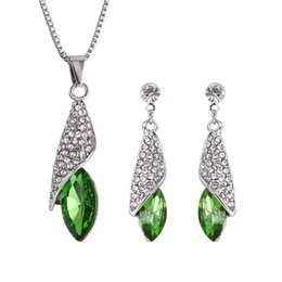 925 Silver Austria Crystal Necklace Australia - New Austria Crystal Women Pendant necklace Jewelry Set 925 silver Earring Crystal Pendant Necklace Jewelry Fit Wedding Gift