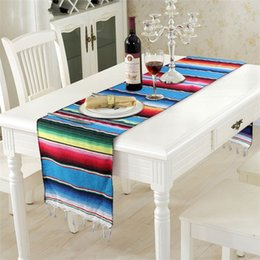 China Rainbow Tablecloth Creative Design Mexico Style Cotton Tables Banner Oblong Shape Stripe Table Runner Birthday Wedding Decorations 9sz C suppliers
