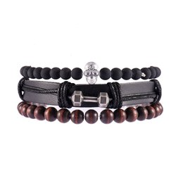 $enCountryForm.capitalKeyWord NZ - Scrub beads bracelet Wood Beads PU Rope Leather Dumbbell pendant Braided Bracelet Simple Leather Bracelets Multilayer Ethnic Wind