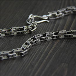 $enCountryForm.capitalKeyWord NZ - designer jewelry vintage 925 sterling silver Retro six-character mantra marcasite necklace 7mm thick domineering men's chain cuban link