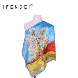 satin necktie 2019 - IFENDEI New Fashion Design Silk Scarf For Woman Small Square Satin Printing Scarves Girls' 100% Silk Necktie For Ba