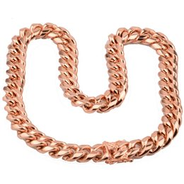 $enCountryForm.capitalKeyWord UK - 2018 hot sell 8mm 10mm 12mm 14mm Stainless Steel Curb Cuban Chain Necklace Boys Mens Fashion Chain Dragon Clasp Gold RoseGold jewelry