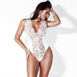 90f233ff60a Womens Sexy Deep V Neck Illusion Lace Bodysuit Jumpsuit 2018 SLeeveless V Back  Night Sleep Underwear Onesies