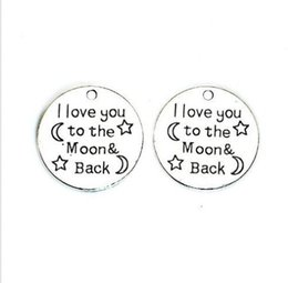 $enCountryForm.capitalKeyWord UK - 60Pcs alloy I Love You to the Moon and Back Charms Antique silver Charms Pendant For necklace Jewelry Making findings 25mm