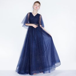$enCountryForm.capitalKeyWord Canada - 2018 Arabic Prom Dresses V Neck Short Sleeves Sequin Lace up Back Sweep Train Long Evening Party Gowns