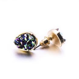 Fashion Drusy Druzy Earrings Gold Plated Popular water drop Faux Natural Stone Stud Earrings for Women Lady Jewelry