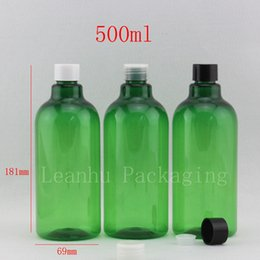 Wholesale Plastic Green Bottle Caps NZ - Wholesale 500ml green empty pet plastic bottles for cosmetic packaging screw top cap,family size cosmetics bottle 12pc lot