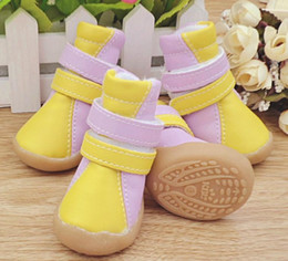 Cats Dogs Shoes NZ - DHL FREE New Pet Dog Shoes Puppy PU Snow Boots Spring And Autumn Pet Shoes For Small Dogs And Cats 4pcs set
