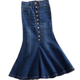 fc39d0451a Nuevo más el tamaño 7xl faldas de mezclilla de las mujeres de cintura alta  falda larga del dril de algodón moda damas trompeta sirena S916