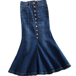 Chinese  new plus size 7xl women denim skirts High waist long denim skirt fashion ladies trumpet mermaid S916 manufacturers