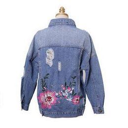 fc8e6816822 Women Flower Embroideryed Denim Jackets 2018 Autumn New Female Hole Jeans  Outerwear Basic Coats Light Blue Plus Size XL-5XL