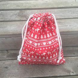 $enCountryForm.capitalKeyWord NZ - YILE 1pc Cotton Linen Drawstring Pouch Party Gift Bag Christmas Tree Deer Red Base 8927b