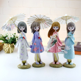 Japanese silicone toy girls online shopping - 21pcs Creative H cm Japanese Kimono Umbrella Girl Resin Figurines Ornaments Gifts Toys Girl Gift Students Bedroom Decoration