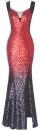 Fazadess Kız kadın Zarif V boyun Kolsuz Pullu Mermaid Uzun Balo Parti Elbise