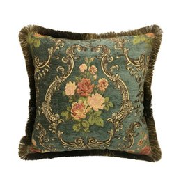 $enCountryForm.capitalKeyWord UK - Vintage Floral Cushion Cover Deep Green Chenille Interior Home Decorative Sofa Pillow Case Jacquard Woven Square 45x45cm Sell by 1 Piece