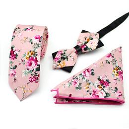 Discount matching ties set - Ikepeibao Pink Cotton Floral Paisley Ties with Matching Bowtie Hanky for Men Wedding Tie Slim Gravatas Corbatas Casual P