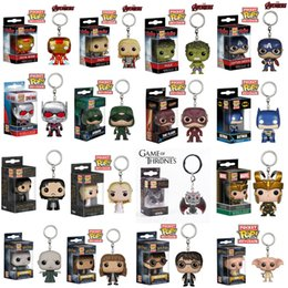 Discount game thrones pop - Toy Keychain Funko POP Marvel Super Hero Harley Quinn Deadpool Harry Potter Spiderman Joker Game of Thrones Figurines No
