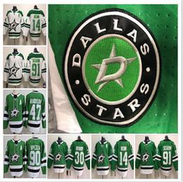 2018 Dallas Stars Mens Hockey  91 Ice Jersey 14 Jamie Benn 30 Ben Bishop  Jerseys Stitched Green White S-3XL 5a8c456e6