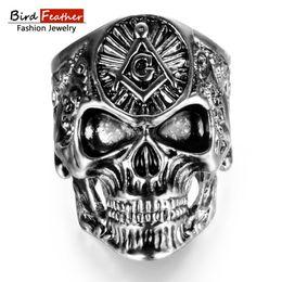 Discount women masonic ring - Bird Feather Zinc Alloy Men Ring Masonic Skull Titanium Rings for Women Vintage Punk Fashion Jewelry Woman Wedding Ring