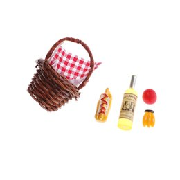Wholesale 1 Set Scale Dolls House Miniature Accessories Dinning Fruit Bamboo Basket Wine Bannana Toy