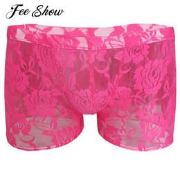 Gay Mens Lingerie Sheer Lace Floral Boxer Shorts Underwear Men s Lace Print  Boxer Underwear Lingerie Semi-see Through Underpants 5ee56bac5