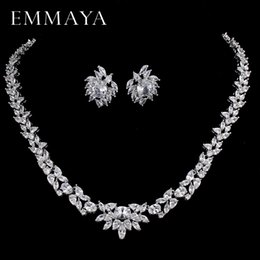 Necklaces Pendants Australia - EMMAYA CZ Stones White CZ Silver Color Jewelry Sets For Women Earrings Necklace Pendant with Free Jewelry Box