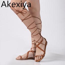 Discount sandal knee - Akexiya Plus Size 5-10 Fashion Gladiator Sandals Women Sexy Cutout Knee High Sandalias Summer Style Casual Flip Flops Sh