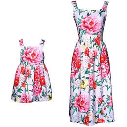 beece2144e9446 Mom Girls Dress Mother Daughter Flower Dresses 2018 Summer Kids Girls Ball  Gown Suspender Dress Women Party Dress Family Match Clothing D869
