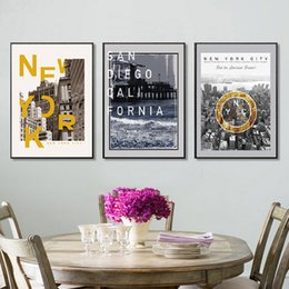 Wall Prints Abstract NZ - Nordic Style Posters New York Abstract Building City Painting Modern Canvas Printing Home Decoration Fashion Art Wall Pictures