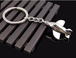silver key gift 2021 - Small Plane Key Ring New Design Silver Metal Mini Unmanned Aircraft Key Chain Lovely Party Gift