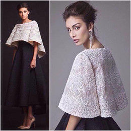 krikor jabotian red carpet dresses UK - 2019 Stylish Krikor Jabotian White And Black Evening Dresses Two Pieces Ankle Length Half Sleeves Formal Party Gown With Jacket