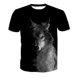 Plus Size Tee Australia - Black Wolf Print T-Shirt Hip Hop Plus Size Men t shirts Fitness Casual Harajuku Tees Gothic Funny Streetwear Male 3D T shirts