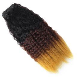 Discount brazilian virgin hair weft ombre - 10A Grade Ombre Yaki Straight Peruvian Hair Malaysian Kinky Straight Human Hair Bundles Weaves Indian Virgin Hair 4bundl