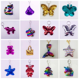 Discount cute butterfly glitter - Cute Animals Sequins Butterfly Keychain Glitter Key Chain Gifts Car Bag Decor Key Ring Women Bag Pendant Accessories KKA