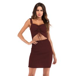 Elastic tight-fitting sweater dress new sexy low-cut openwork strap dress  drawstring with pleated bag hip skirt. 0fe6f9ce5