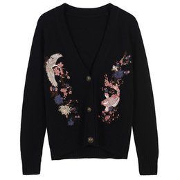 $enCountryForm.capitalKeyWord UK - Black crane carp and cherry blossoms pattern embroidery women knit top casual ladies casual high-end cardigan knit outwear