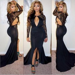 $enCountryForm.capitalKeyWord NZ - Lace long sleeves cutway sides sexy prom dresses mermaid 2018 jewel keyhole neck front split black formal evening gowns