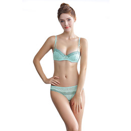 cc7aab1e35 2018 Women Lace Cotton Transparent Breathable Underwear And Panty Set Push  Up Ultra-Thin Lace Bras Sexy Elegant Lingerie