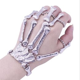 skeleton bone hand bracelet 2019 - Fashion Halloween Props Gift Fun Nightclub Party Punk Finger Bracelet Gothic Skull Skeleton Bone Hand Chain cheap skelet