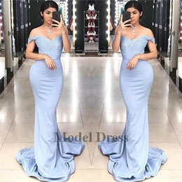 Discount classic Dresses online shopping - Light Lavender Prom Dresses Long Mermaid Off the Shoulder Lace Appliques Sweep Train Formal Women Evening Gowns Custom Made Discount