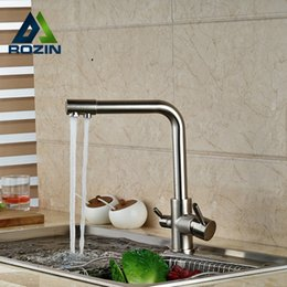 Nickel Kitchen NZ - Brushed Nickel Dual Water Outlet Kitchen Sink Faucet Dual Handle Pure Water Mixer Taps Deck Mounted