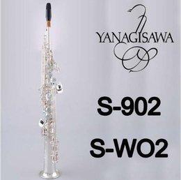 Vente en gros YANAGISAWA S-WO2 S-902 Soprano B (B) Tube Droit Saxophone Marque Qualité Laiton Plaqué Argent Instruments avec Embouchure
