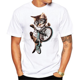 $enCountryForm.capitalKeyWord NZ - 2019 New Arrivals Fashion Bicycle Cat Design Men's T Shirt Boy Cool Tops Hipster Printed Summer T-shirt