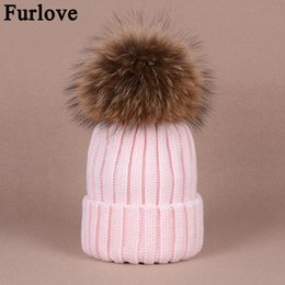 Wholesale real furs for sale - Group buy Furlove Real Raccoon Fur Women s winter Hat Genuine Fur Pompom Women Knitted Bobble Ski Hat Cap Winter Hats for women skullies